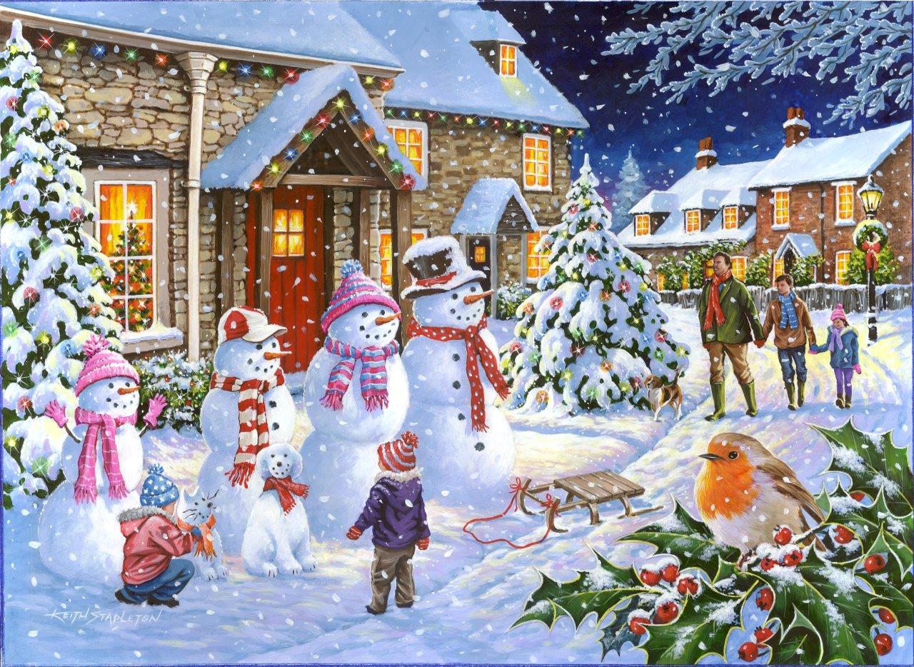 Puzzle Snow Family The House Of Puzzles 4258 1000 Pieces