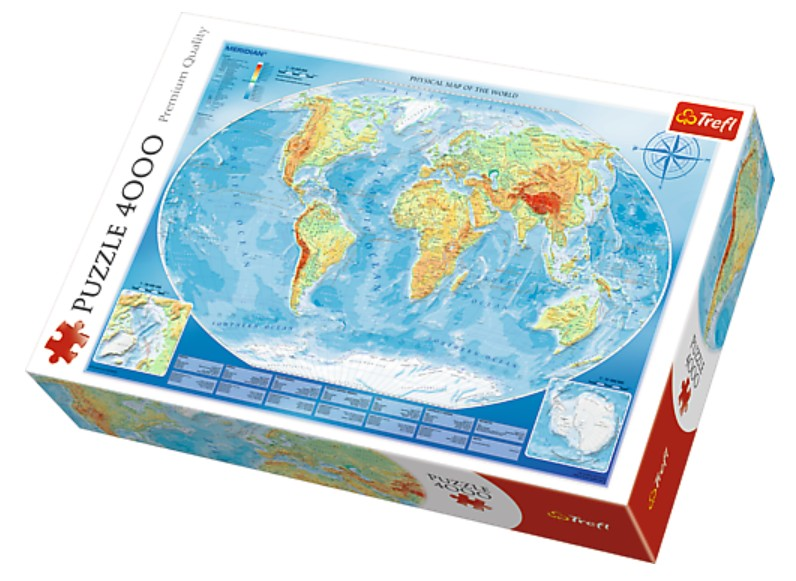 Puzzle Large Physical Map Of The World Trefl 45007 4000 Pieces