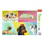 Puzzle  Trefl-10578 Neon Color Line - Dogs
