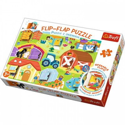 Trefl-14271 Flip Flap Puzzle - Farm