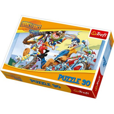 Puzzle Trefl-18169 Bug Bunny, Daffy Duck and Taz - Crazy ATV ride