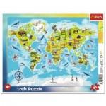 Trefl-31340 Frame Puzzle - Animal World Map