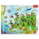 Trefl-31341 Frame Puzzle - Map of Europe Animals