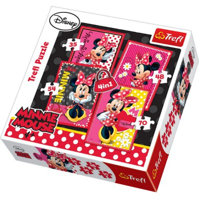 Trefl-34119 4 Puzzles in 1: Minnie any mimi