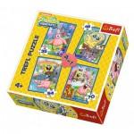 Trefl-34264 4 Jigsaw Puzzles - Sponge Bob