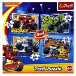 Trefl-34267 4 Jigsaw Puzzles - Blaze and the Monster Machines