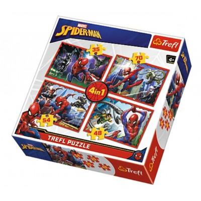 Trefl-34293 4 Puzzles - Spider-Man