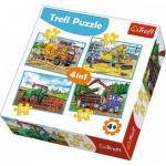 Trefl-34298 4 Puzzles - Vehicles