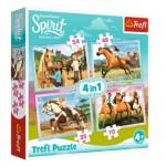 Trefl-34334 4 Puzzles - Dreamworks - Spirit Riding Free