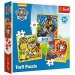 Trefl-34839 3 Puzzles - Paw Patrol