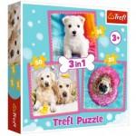 Trefl-34845 3 Puzzles - Dogs