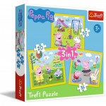 Trefl-34849 3 Jigsaw Puzzles : Peppa's happy day / Peppa Pig