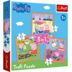 Trefl-34852 3 Jigsaw Puzzles - Peppa Pig