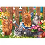 Puzzle  Trefl-37326 Little kittens in the garden