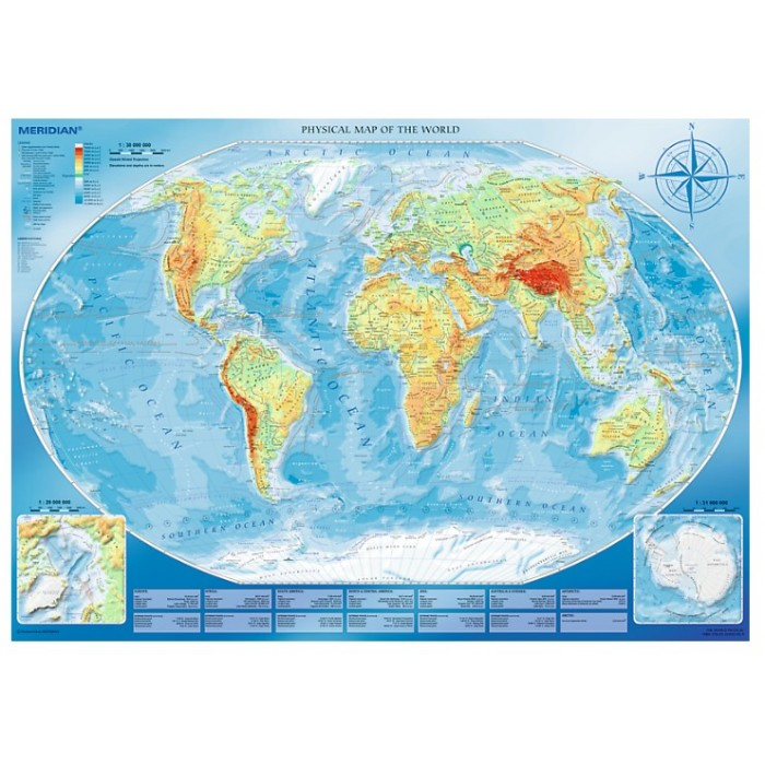 Large Physical Map of the World