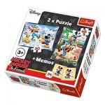 Trefl-90604 2 Puzzles + Memo - Mickey