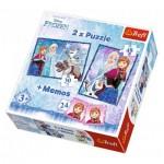 Trefl-90617 2 Puzzles + Memo - Frozen