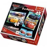 Trefl-90706 2 Puzzles + Memo - Cars