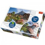Trefl-90724 Puzzle Mat + Puzzle - Cottages in the Mountain