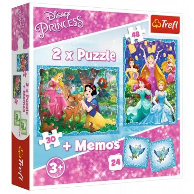 Trefl-90815 2 Puzzles + Memo - Disney Princess