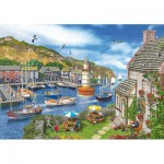 Wentworth-682702 Wooden Jigsaw Puzzle - Dominic Davison: The Village Harbour