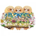 Wentworth-840106 Wooden Puzzle - Owlets in The Moonlight