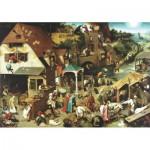 Wentworth-RMN225 Wooden Jigsaw Puzzle - Pieter Brueghel: Netherlandish Proverbs