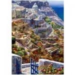 Wooden Puzzle - Above Santorini