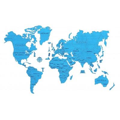 Wooden-City-WM504/3-8299 Wooden Puzzle - World Map XL (Cyan)