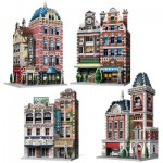 Wrebbit-Set-Urbania-2 3D Puzzle - Urbania Collection - Café, Cinema, Hotel, Fire Station